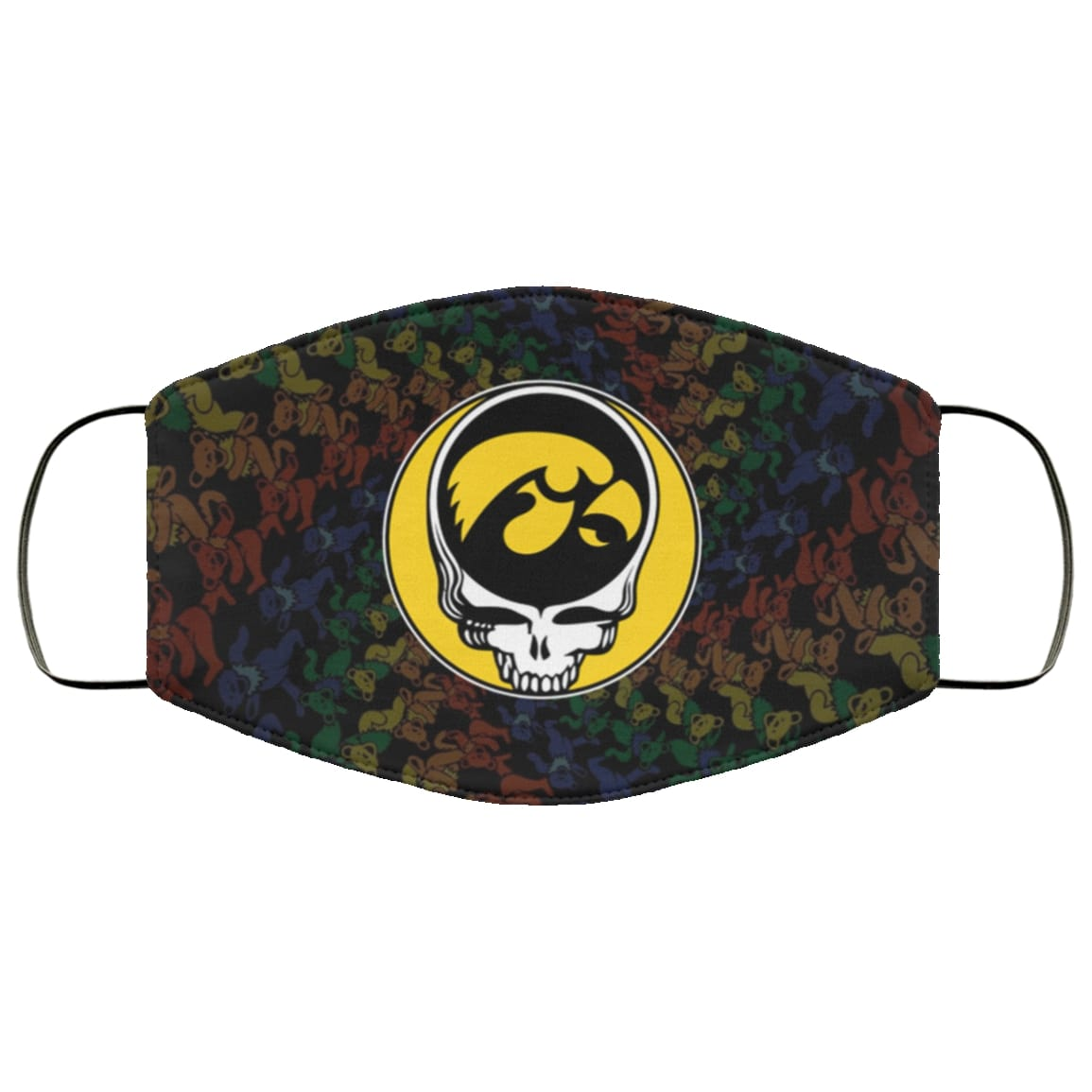 Grateful dead iowa hawkeyes full over printed face mask 2