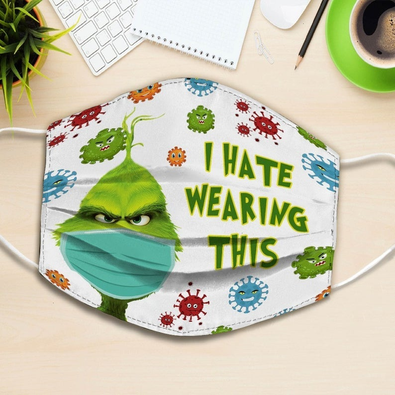 Grinch i hate wearing this mask full printing face mask 2