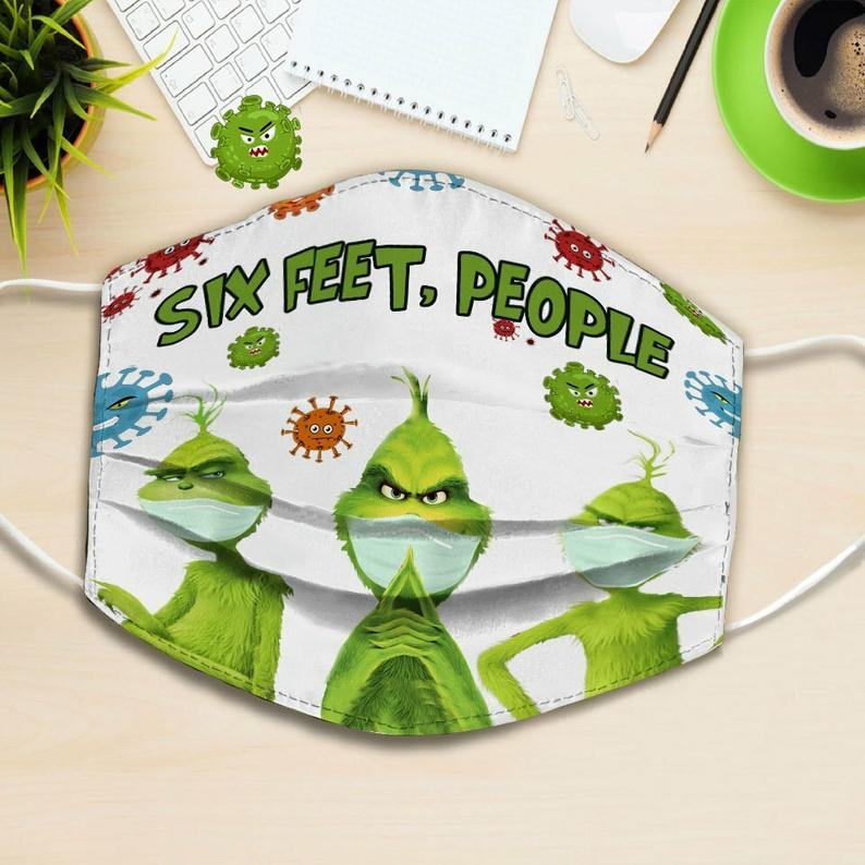 Grinch with mask six feet people full printing face mask 3