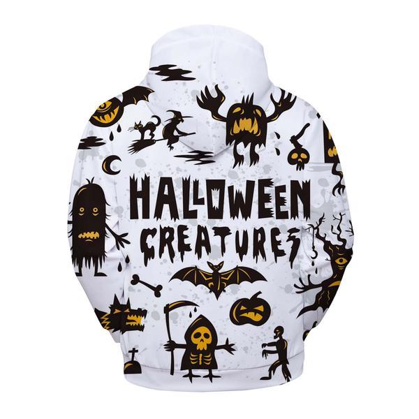 Halloween creatures all over printed hoodie