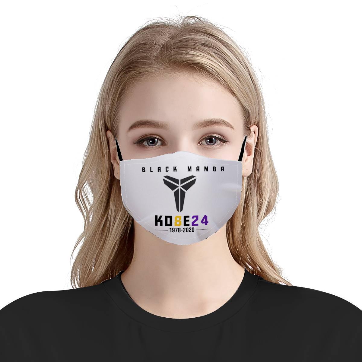 Kobe 24 black mamba 1978-2020 all over printed face mask 1