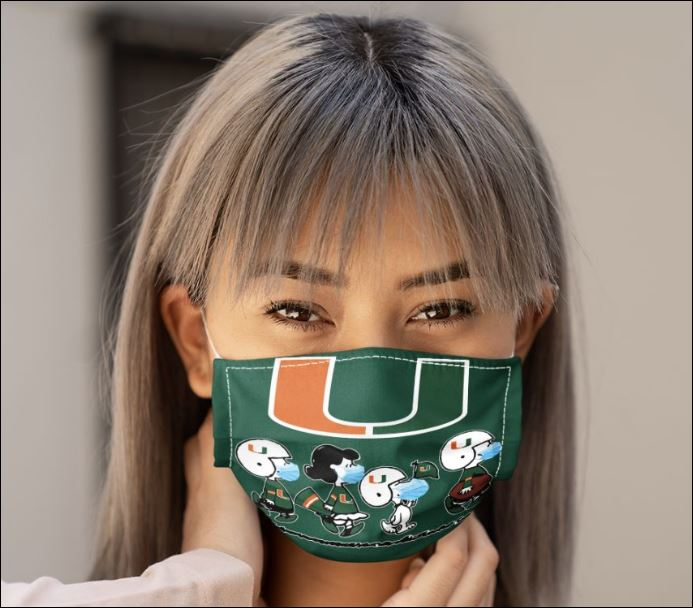 Miami hurricanes snoopy and friends anti pollution face mask 2