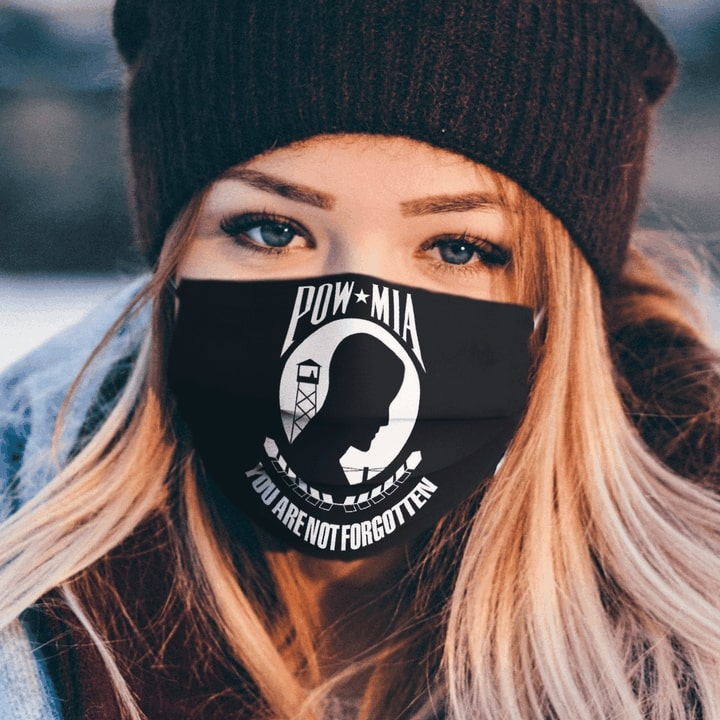 National league of families pow mia flag you are not forgotten face mask 2
