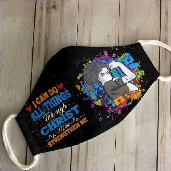 Nurse i can do all things through Christ who strengthen me anti pollution face mask 3