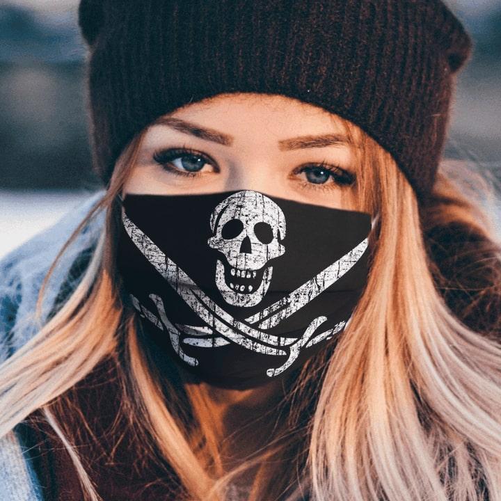Pirate flags jack captain skull sword full over printed face mask 2
