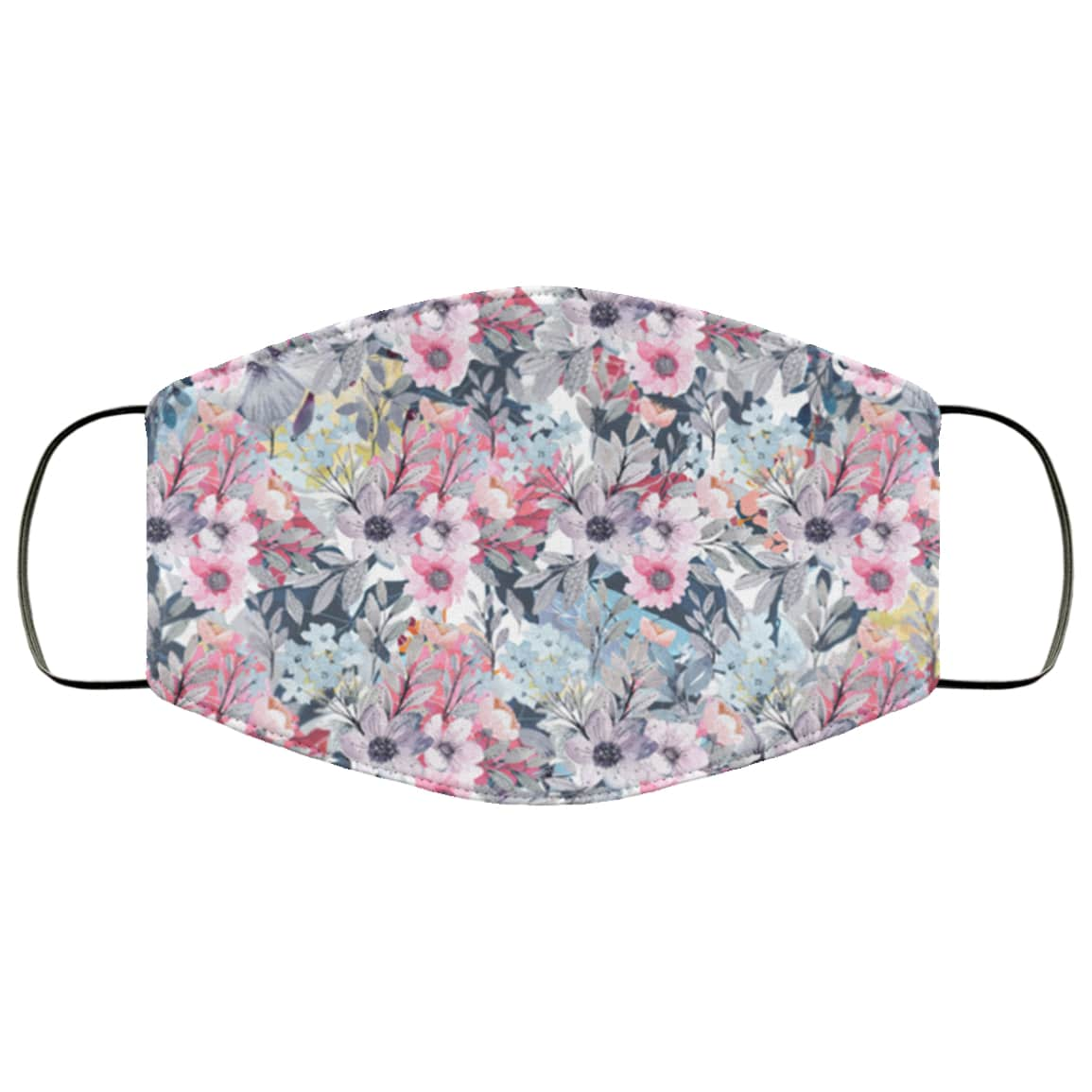 Purple flowers full over printed face mask 2