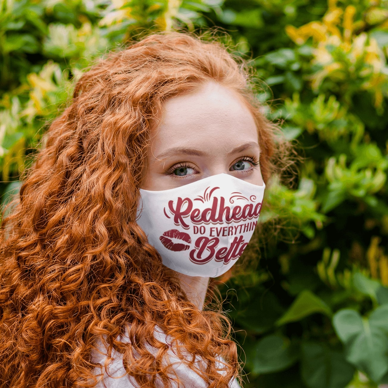 Redheads do everything better sexy lips all over printed face mask 1