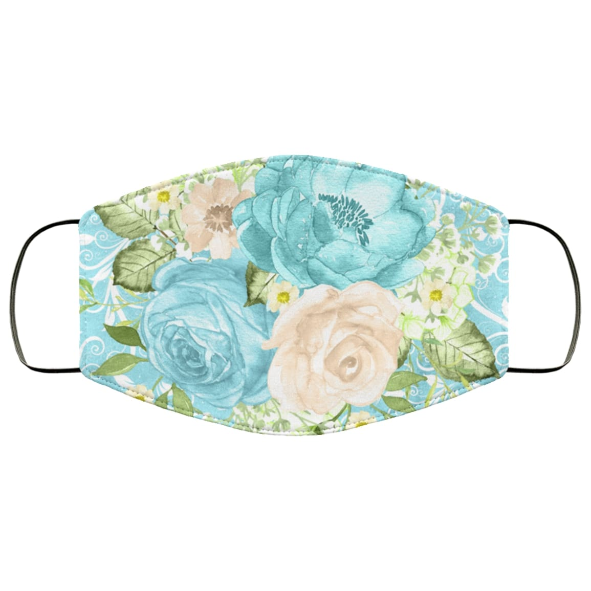 Royal mint flowers full over printed face mask 1