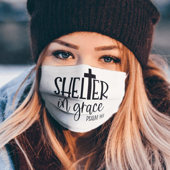 Shelter in grace psalm full over printed face mask 2