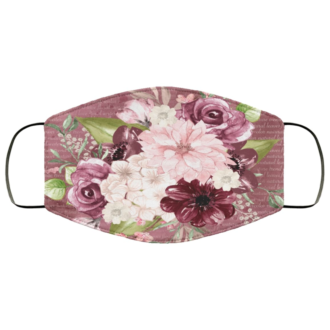 Spring flowers full over printed face mask 1