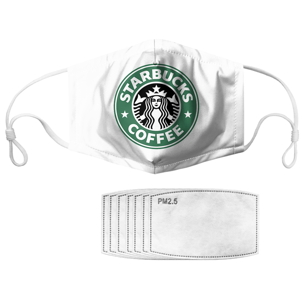 Starbucks coffee symbol all over printed face mask 3