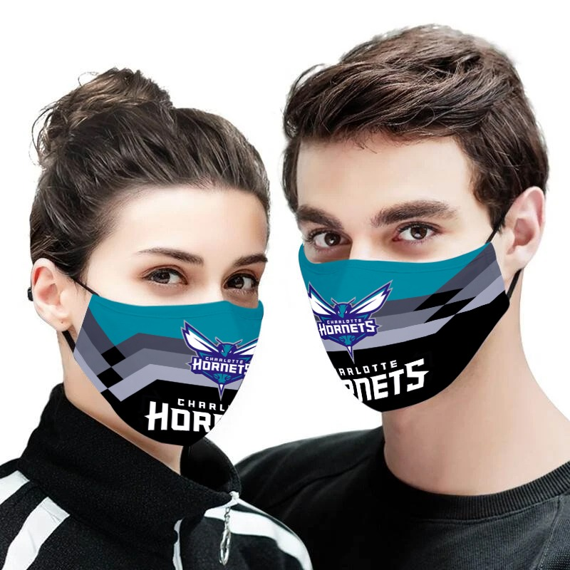 The charlotte hornets nba all over printed face mask 2