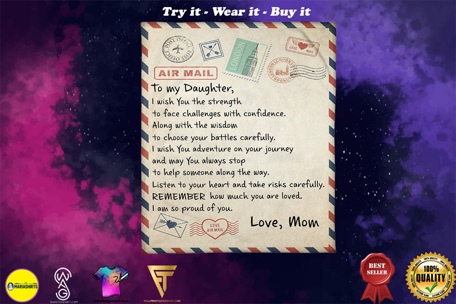 air mail to my daughter i wish you strength love mom blanket - Copy