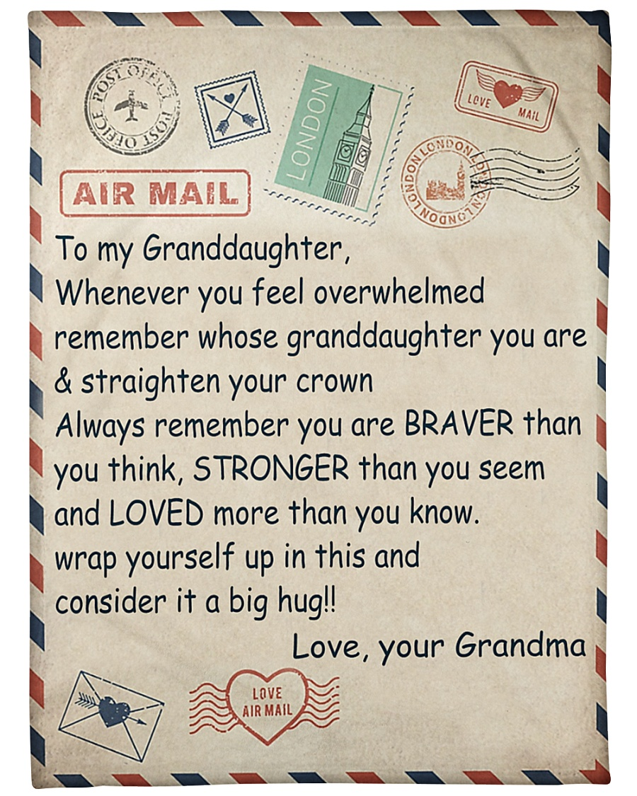 air mail to my granddaughter love your grandma letter blanket 1