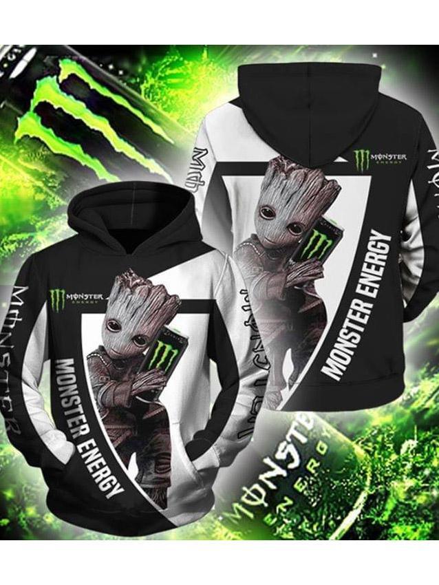 baby groot hold monster energy green full over printed hoodie