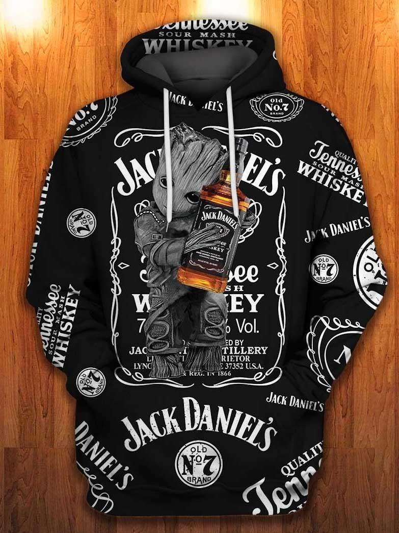 baby groot hugs jack daniels old no 7 tennessee whiskey all over printed hoodie