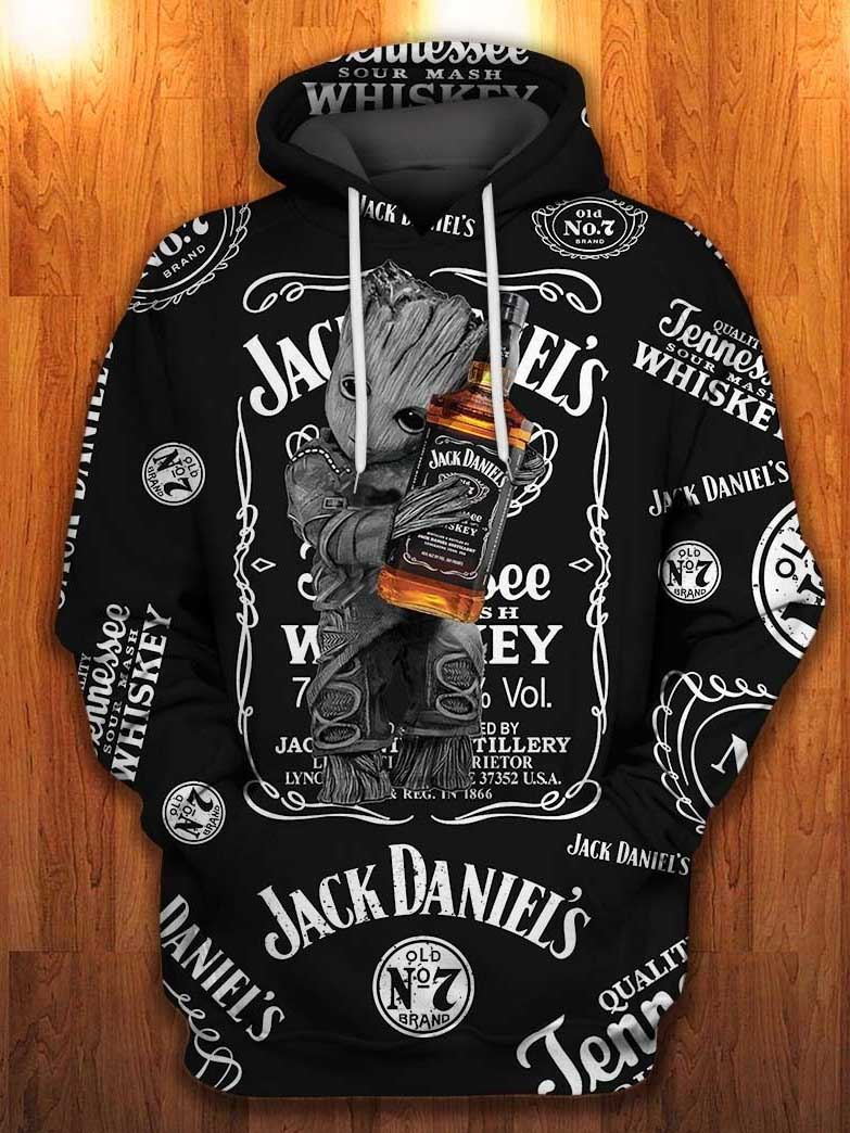 baby groot hugs jack daniels old no 7 tennessee whiskey all over printed shirt 1