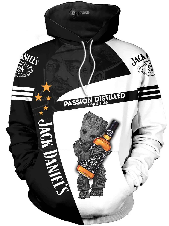 baby groot hugs jack daniel's passion distilled since 1866 all over printed hoodie 1