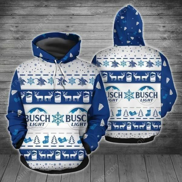 christmas busch light all over printed hoodie 1