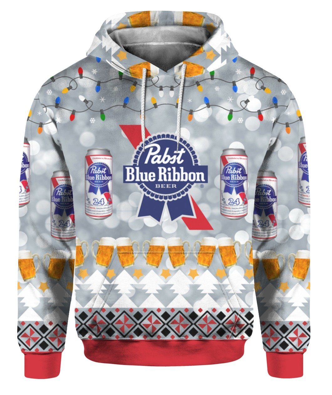 christmas pabst blue ribbon all over printed hoodie