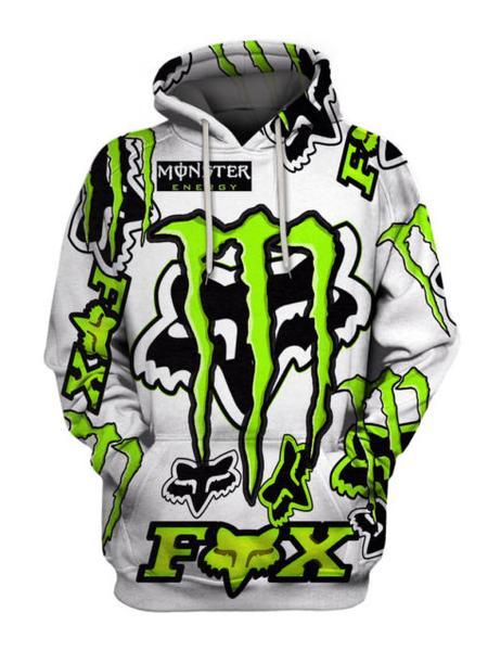 fox racing and monster energy symbol full over printed hoodie