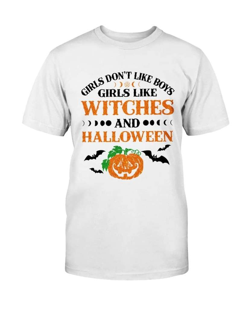 girls dont like boys girls like witches and halloween tshirt
