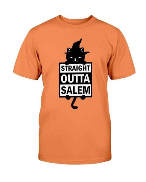 halloween black cat straight outta salem tshirt - Copy