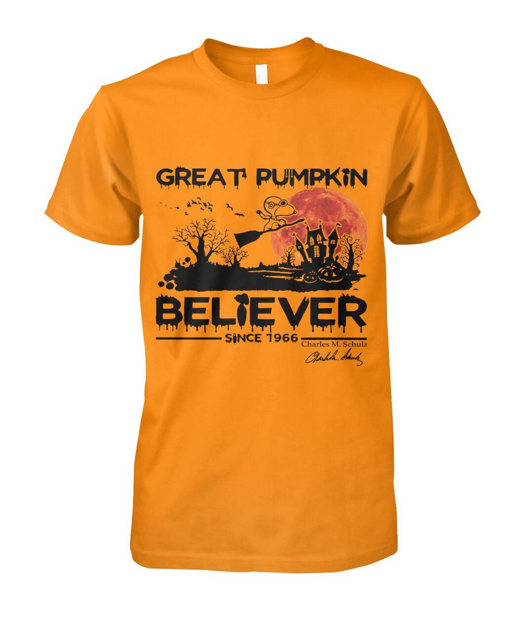 halloween great pumpkin believer since 1966 snoopy shirt 1