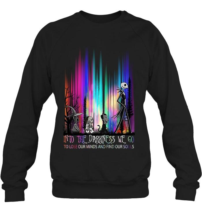 halloween jack skellington into the darkness we go sweatshirt
