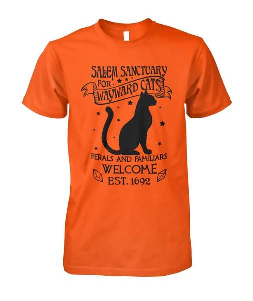 halloween salem sanctuary for wayward cats ferals and familiars welcome est 1692 tshirt