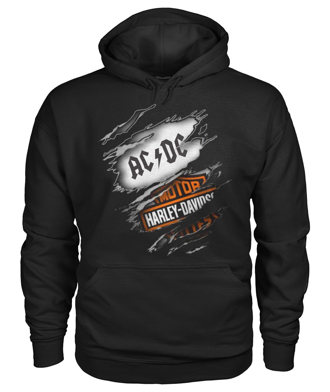 harley-davidson motorcycles and acdc rock band hoodie