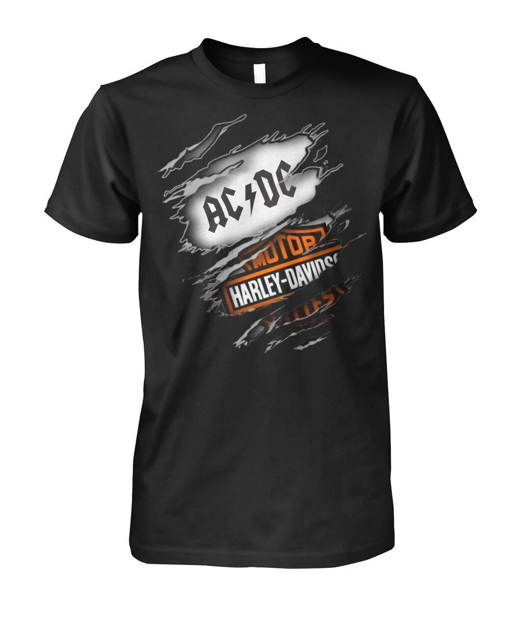 harley-davidson motorcycles and acdc rock band tshirt