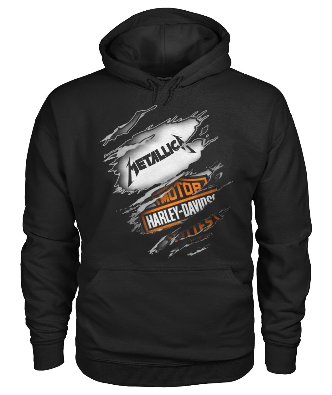 harley-davidson motorcycles and metallica rock band hoodie