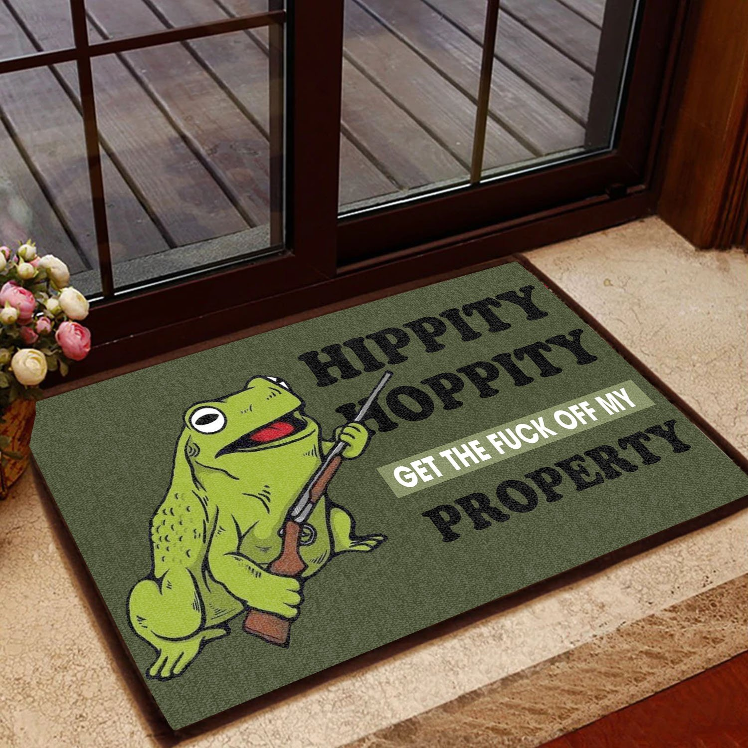 hippity hoppity get off my property frog with the gun doormat 2