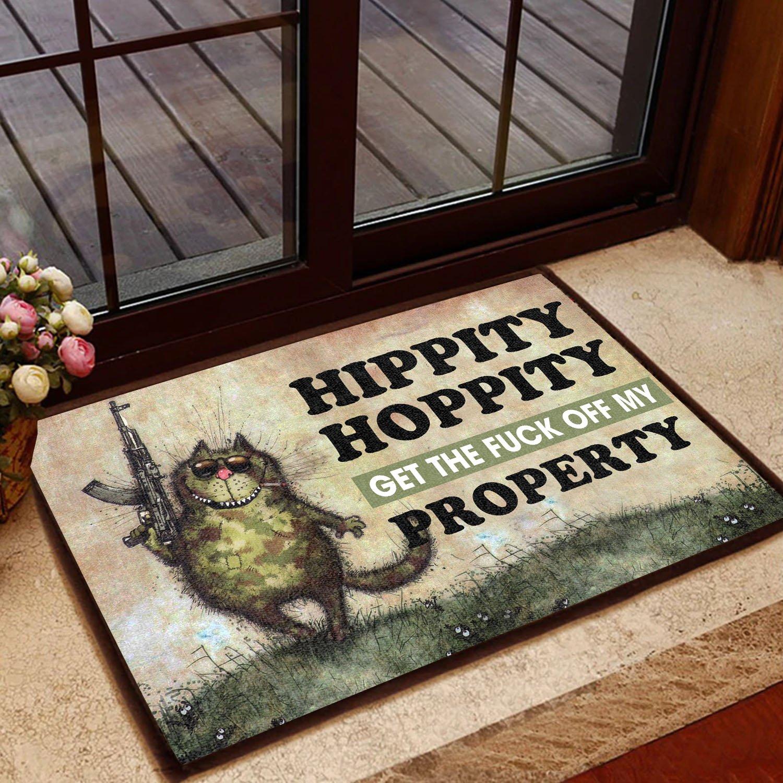 hippity hoppity get off our property cat doormat 1