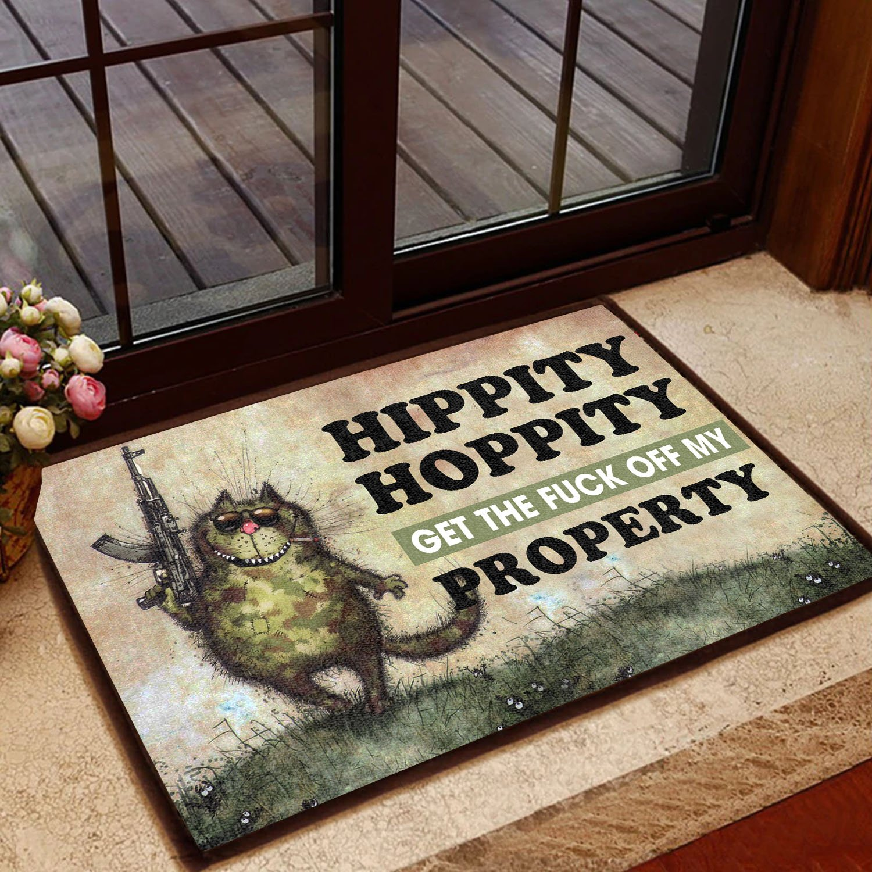 hippity hoppity get off our property cat doormat 3