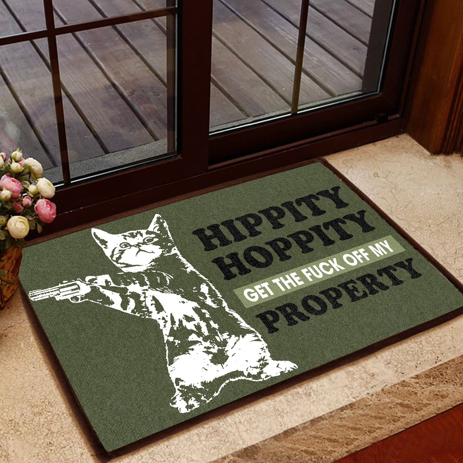 hippity hoppity get off our property cat with gun doormat 1