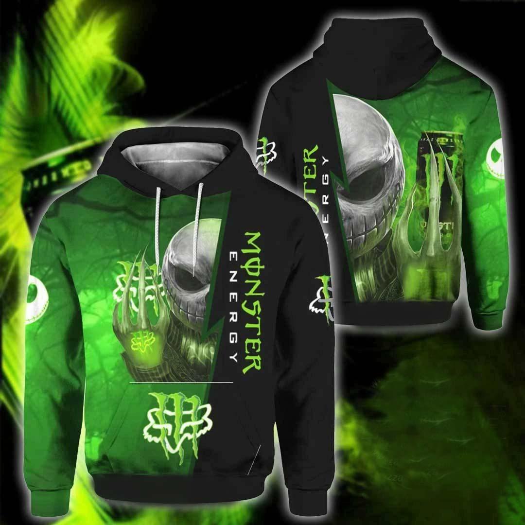 jack skellington hold monster energy full over printed hoodie