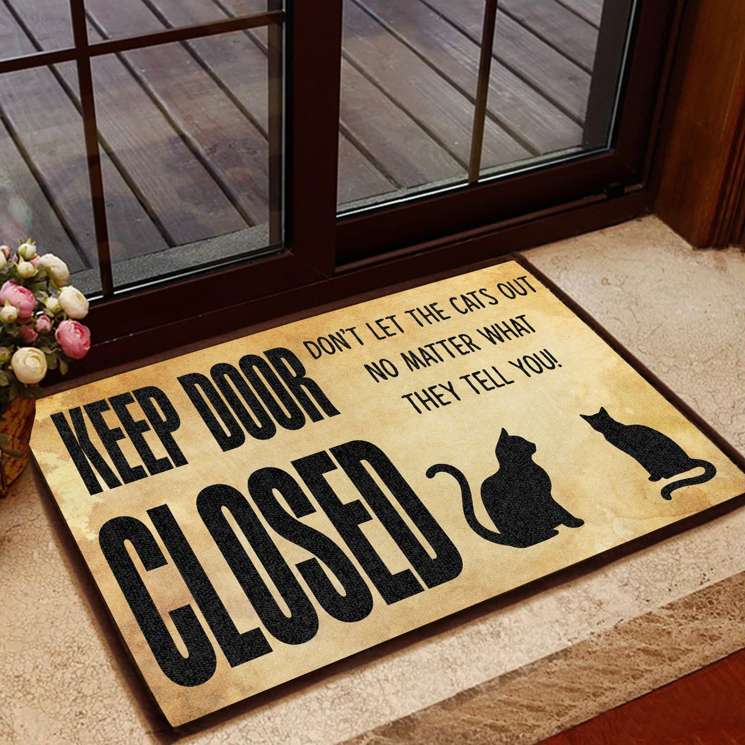 keep door closed don't let the cats out doormat 1