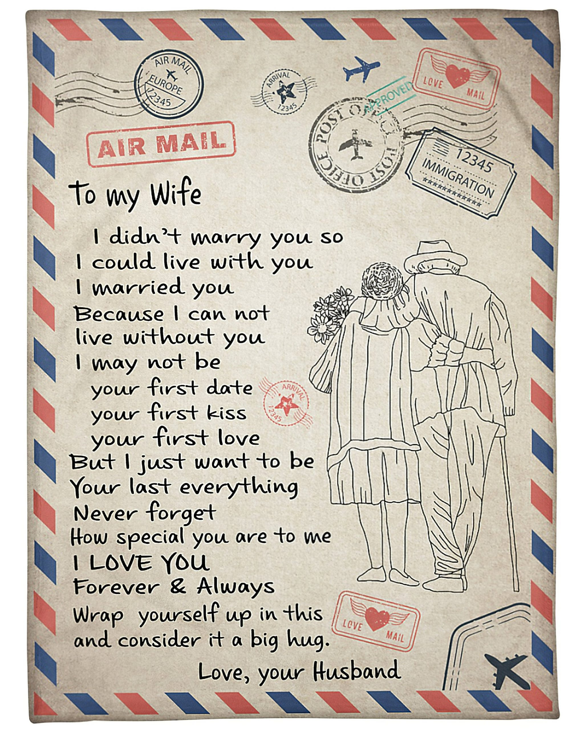letter to my wife love your husband blanket 1 - Copy
