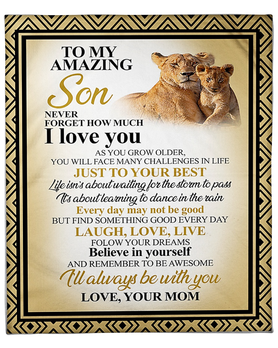 lion to my amazing son never forget how much i love you blanket 1