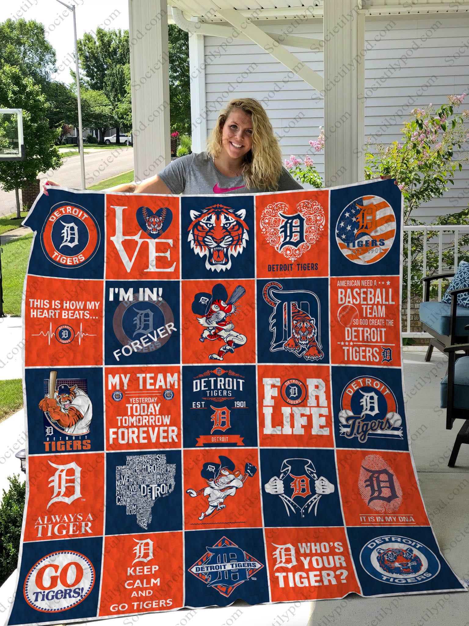 love detroit tigers symbols full printing quilt 1