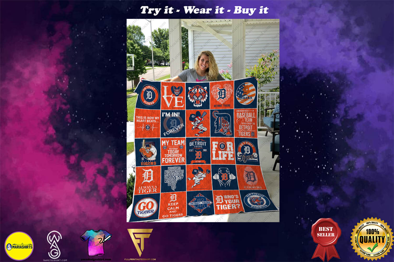 love detroit tigers symbols full printing quilt - Copy