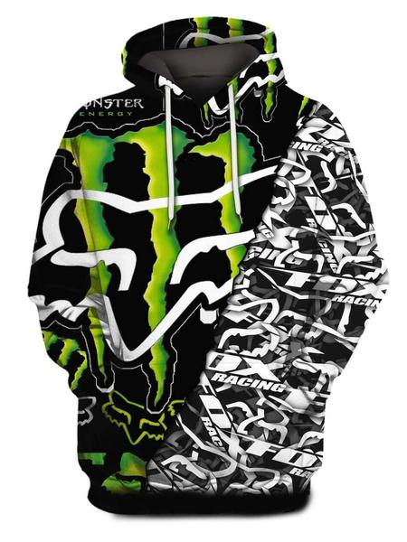 monster energy and fox racing symbol full printing shirt 1
