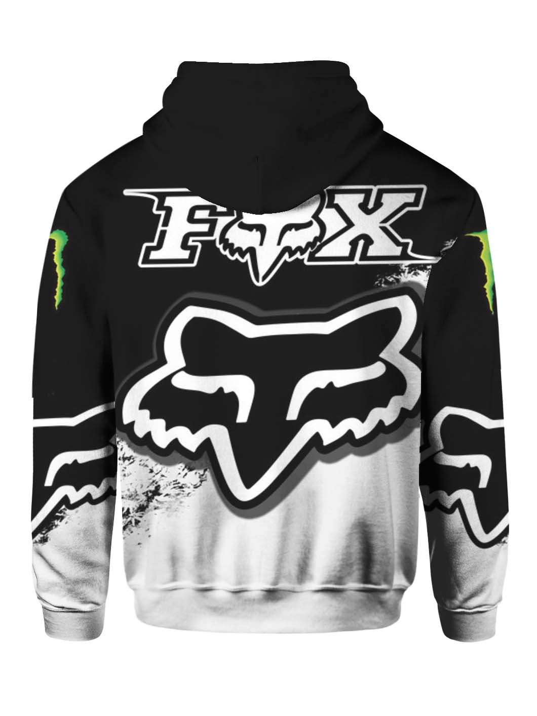 monster energy green and fox racing full over printed hoodie