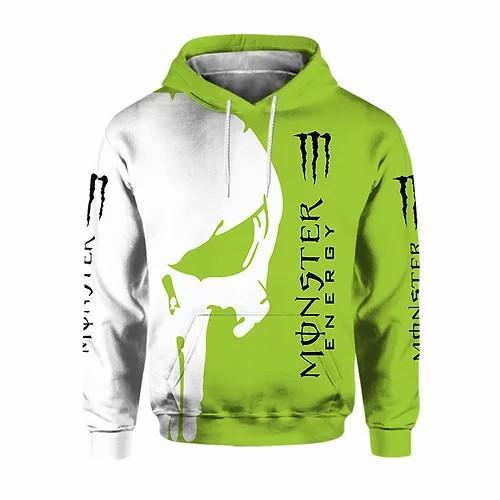 monster energy green death skull full printing shirt 1
