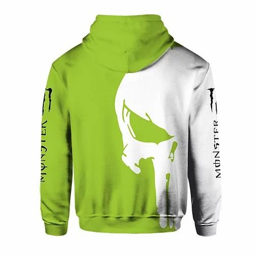 monster energy green death skull full printing shirt 2