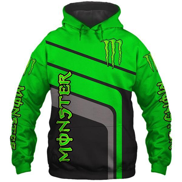 monster energy green full printing hoodie