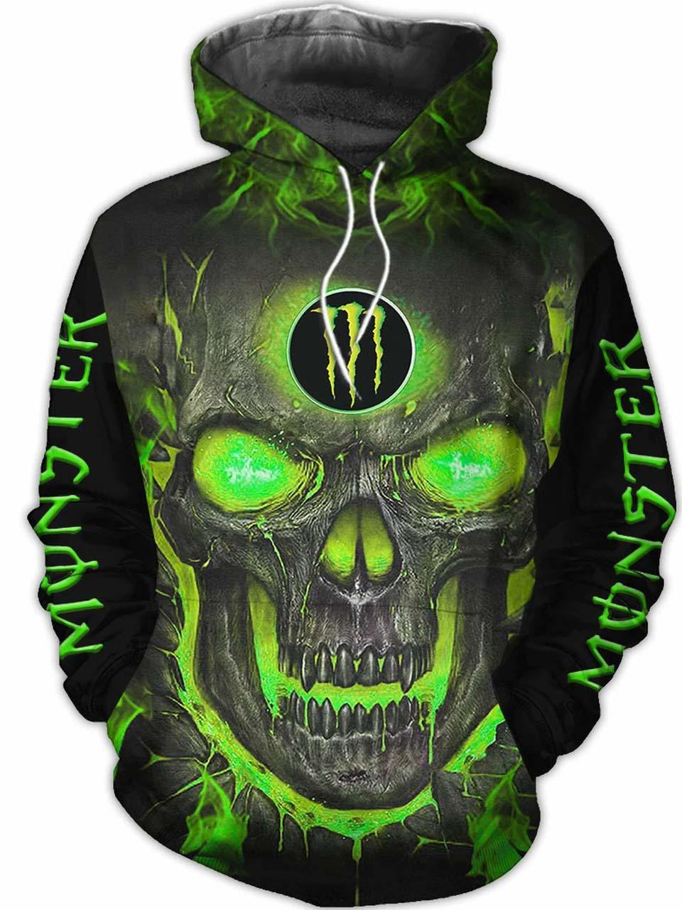 monster energy green lava skull all over printed hoodie 1