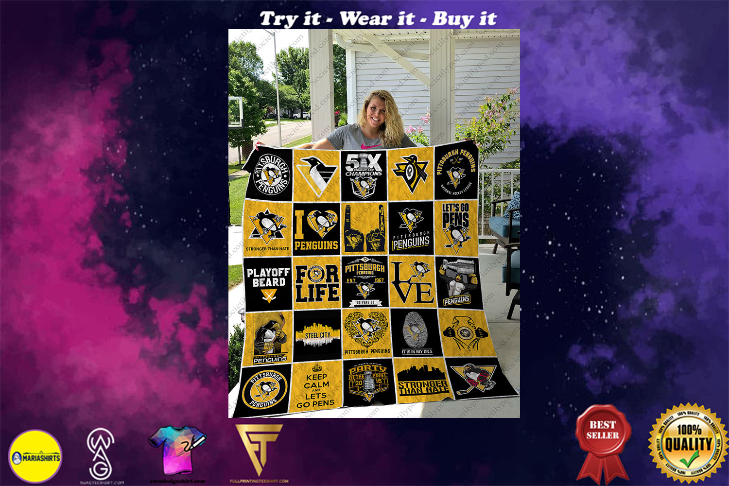 nhl pittsburgh penguins full printing quilt - Copy